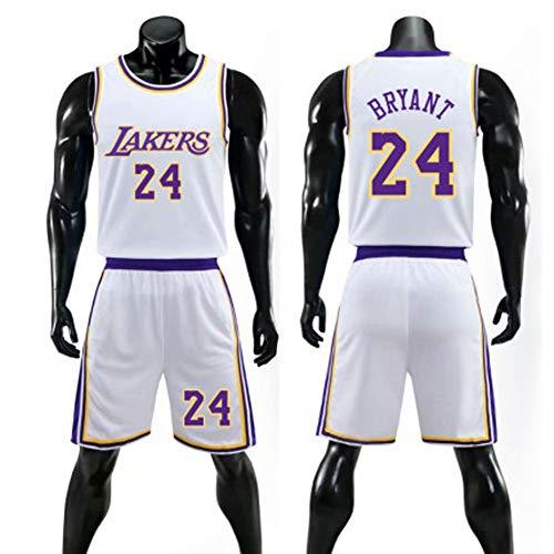 (Weiß) 24# Lakers Kobe Herren- und Damen-Basketballtrikot-Shorts-Set, Basketball-Matching-Weste, PET-Sportstoff mit hoher Dehnung, echtes Trikot (M-5XL)-XXXXL