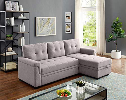 Lilola Home Lucca Linen Reversible Sleeper Sectional Sofa Light Gray