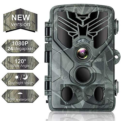 SUNTEKCAM Cámara de Caza Nocturna 24MP 1080P HD con Diseño Impermeable IP66 Cámara de Fototrampeo con Detección de Acción LED IR Sin Brillo para Seguimiento Cinegético de Fauna