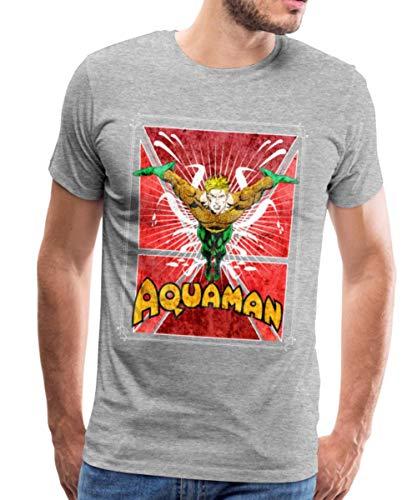 DC Comics Justice League Aquaman Männer Premium T-Shirt, M, Grau meliert