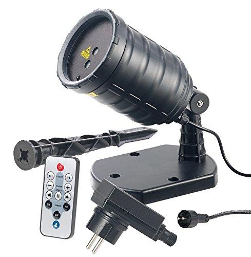 Lunartec Laser Projektor außen: Laser-Projektor mit Sternenregen-Lichteffekt, Fernbedien, Timer, IP65 (Star Shower)
