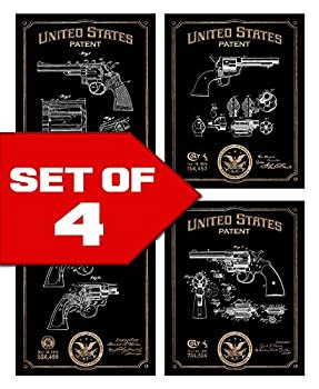 Popular Revolvers Patents Decor Set of Four 8x10 Gun Themed Decorative Prints Colt Smith & Wesson great for bachelor pad office living room.