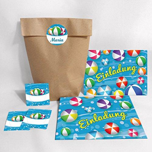12-er Set Einladungskarten, Umschläge, Tüten, Aufkleber zum Kindergeburtstag Schwimmbad Wasserbälle für Mädchen Jungen (12 Karten + 12 Umschläge + 12 Party-Tüten + 12 Aufkleber (Kreuzbodenbeutel))