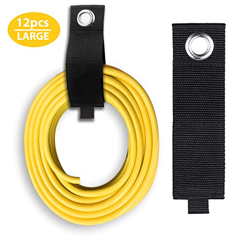12 Pack Extension Cord Holder Organizer, SMARTOLOGY Heavy-Duty Hook and Loop Storage Strap for House, Basement, RV, Garage Hook - Cable, Hose, Rope Wrap & Hanger for Indoor and Outdoor Use