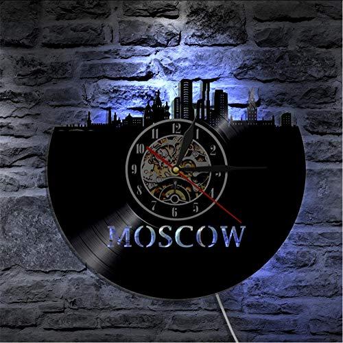 mubgo Wanduhren Moskau Skyline Stadt Led-Beleuchtung Farbwechsel Russische Architektur Wandleuchte Schallplatte Wanduhr Moderne Hintergrundbeleuchtung Beleuchtet