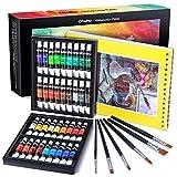 Juego de pintura de acuarela, Ohuhu 36 × 12 ml Kit de pintura de acuarelas para artistas, estudiantes, principiantes, kit de pinturas de acuarela para retrato de paisaje sobre lienzo