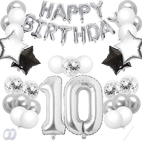 TaimeiMao 10er Cumpleaños Globos, Decoración de Cumpleaños 10, Globos Numeros Decoracion,Globos de Cumpleãnos,Globos Numeros Gigantes,Globo Numero,Globos Numeros Gigantes para Fiestas (Plata, 10)