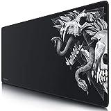 TITANWOLF - XXL Tappetino per Mouse da Gioco - Gaming Mousepad Extra Grande 900 x 400mm - Pad con Base in Gomma Antiscivolo - Spessore 3mm - Nero - Modello Wolf Skull