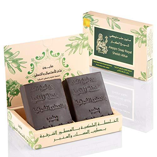 Shaykh Alkar Aleppo Seife Set 2 x 100 g - Sweet Royal Musk and Amber