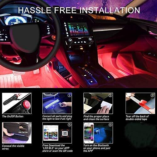 Weskimed - Striscia LED per auto, illuminazione interna per auto, con 4 luci LED RGB, 48 LED strisce, colore musicale, decorazione della lampada per 12 V