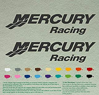 "Pair of Mercury Racing Set Boats Decals Vinyl Stickers Boat Outboard Motor Lot of 2 (12"" X 2.7"", Black 070)"