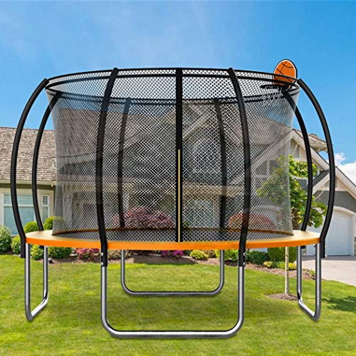 KOQIO 6FT-16FT Garden Trampoline with Basketball Hoop, Fitness Bouncer with Safety Enclosure Net for Play And Exercise Jumping Trampoline for Kids And Adult,Orange,12FT