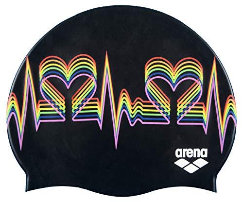 Arena - Cuffia da nuoto classica in silicone, unisex, per uomini e donne, con stampe e in tinta unita, Unisex - Adulto, Classic Silicone Swim Cap, nero multicolore, taglia unica