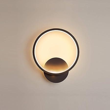 Yafido Applique Murale Interieur LED 13W Lampe Murale Ronde Noir Blanc Chaud 3000K Moderne pour Chambre Salon Escalier Couloir AC 220V