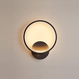 Yafido Applique Murale Interieur LED 13W Lampe Murale Ronde Noir Blanc Chaud 3000K Moderne pour Chambre Salon Escalier Cou...
