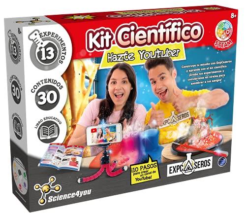 Science4you – Be a Youtuber con ExpCaseros para Niños 8 Años - Kit Manualidades y Experimentos Cientificos para Niños: Haz 13 Actividades con 30 Contenidos, Juegos Educativos Niños 8-10 Años