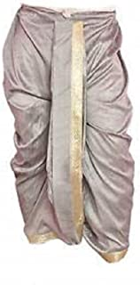 Indian Cultural Ethnic grey dhoti with broad gold border