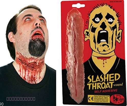 Card and Party Store Fake Slashed Throat Wound Halloween Special Effects Make Up Zombie Fancy Dress