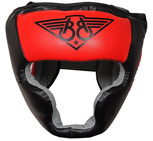 BOOM Prime Cow Hide Leather Boxing Kopfschutz MMA Kopfbedeckung UFC Training Sparring Helm Face Protector Martial Arts (Kostenloser UK Versand) XL rot