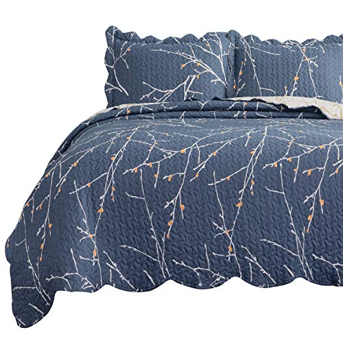 Bedsure Quilt Set King Size(106x96 inches) - Tree Branch Floral Pattern - Lightweight Microfiber Bedspread Coverlet Quilt for Spring and Summer, 1 Quilt and 2 Pillow Shams - Blue/Beige