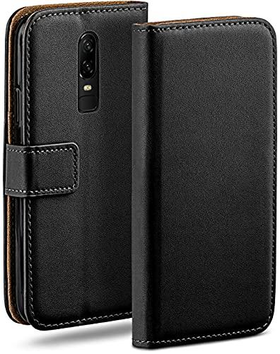 moex Klapphülle kompatibel mit OnePlus 6 Hülle klappbar, Handyhülle mit Kartenfach, 360 Grad Flip Hülle, Vegan Leder Handytasche, Schwarz