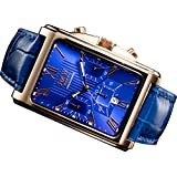 【JMW TOKYO】腕時計 メンズ ブルー & ローズゴールド 角型 ローマ数字インデックス 上級 クロノグラフ 本革ベルト 腕時計【世界限定300本】