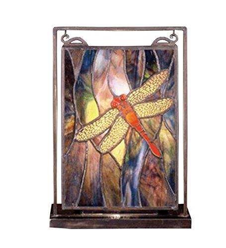 "Meyda Home Indoor Bedroom Decorative 9.5""W X 10.5""H Tiffany Dragonfly Lighted Mini Tabletop Window"