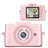 【2021最新版】子供カメラ 子どもデジタルカメラ 7000万画素 8倍ズーム HD録画 タイマー撮影 自撮り機能 HD画質 操作簡単 32GBメモリーカード USB充電 子供プレゼント (pink)