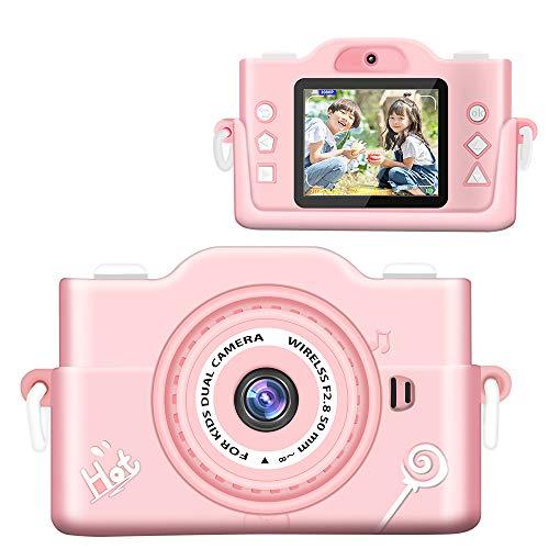 子供 カメラ 【2021最新版】 子ども用デジタルカメラ 7000万画素 8倍デジタルズーム HD録画 タイマー撮影 自撮り機能付き HD画質 操作簡単 32GBメモリーカード付き USB充電 子供プレゼント 年齢制限6+ (pink)