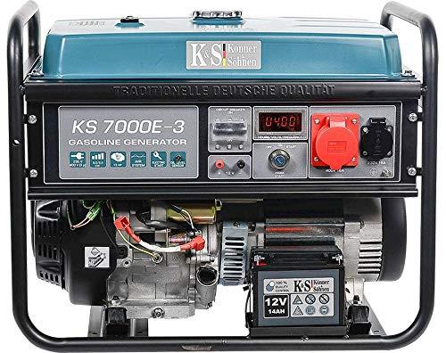 Könner & Söhnen KS 7000E-3 Stromerzeuger, 13 PS 4-Takt Benzinmotor, Kupfer, E-Start, 1x16A (400V), 1x16A (230V) Generator, Automatischer Spannungsregler, Anzeige, für Haus, Garage oder Werkstatt
