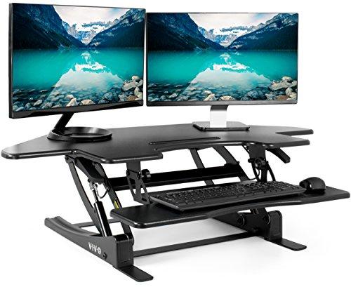 VIVO Black Corner Height Adjustable 43 inch Cubicle Standing Desk Converter, Quick Sit to Stand Tabletop Dual Monitor Riser, DESK-V000VC