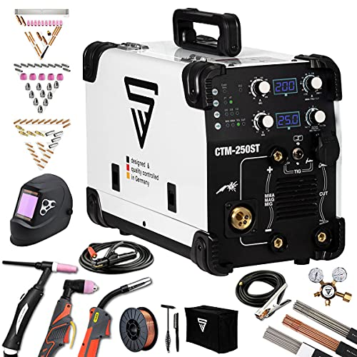STAHLWERK CTM-250 ST Poste à souder combinée 200 A TIG + MIG/MAG + MMA + 50 A Cut/Plasma Kit complet