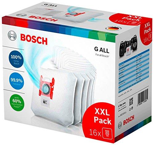 Bosch Hausgeräte BBZ16GALL Staubsaugerbeutel PowerProtect, 16 Stück mit Verschluss, passend für alle Baureihen außer BSG8, BSN1, Weiß