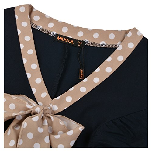 Miusol Damen V-Ausschnitt Schleife Cocktailkleid Faltenrock 50er 60er Jahr Party Stretch-Kleid - 2
