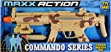 Tactical Machine Gun Toy  With Realistic Sounds LED Lights and Detachable Silencer |Military Soldier Desert Camo Role Play Toy | Costume Accessory for Kids  Maxx Action