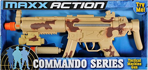 Tactical Machine Gun Toy – With Realistic Sounds LED Lights and Detachable Silencer |Military Soldier Desert Camo Role Play Toy | Costume Accessory for Kids – Maxx Action