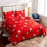 JARSON Merry Christmas Bedspreads Set Lightweight Santa Claus Bedding Full/Queen Size,3Pcs Christmas Tree Gifts Printed Quilts Reversible Coverlet Sets Pillow Shams,Red