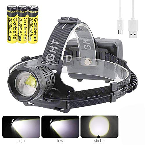 Linterna frontal LED XHP70 superbrillante de 10000 lúmenes recargable con batería, 3 modos de zoom, resistente al agua 90° giratorio para camping, correr, pesca, trabajo