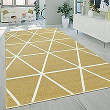 Paco Home Alfombra Salón, Modernos Colores Pastel, Estilo Escandinavo, Motivo De Rombos, tamaño:200x280 cm, Color:Amarillo