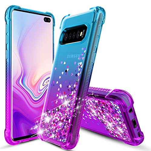 OEAGO Samsung Galaxy S10 Plus Case, Galaxy S10+ Case, Flowing Liquid Floating Bling Glitter Sparkle TPU Bumper Shockproof Girls Women Case for Samsung Galaxy S10+ Plus (6.4 inch 2019) - Teal Purple