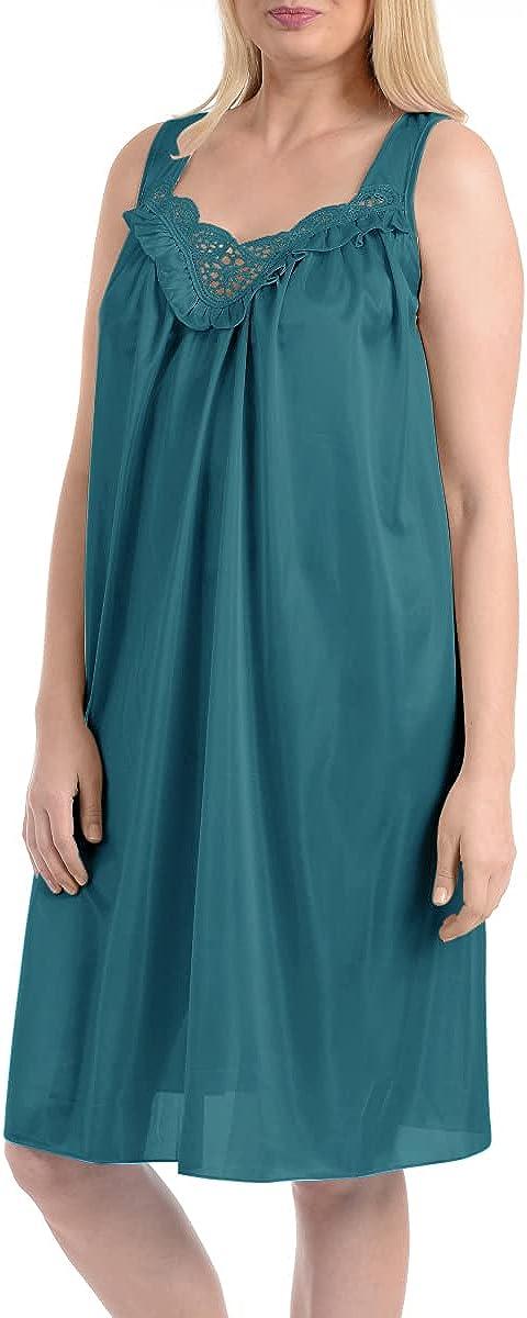 EZI Women's Satin Silk and Lace Sleeveless Lingerie Nightgown