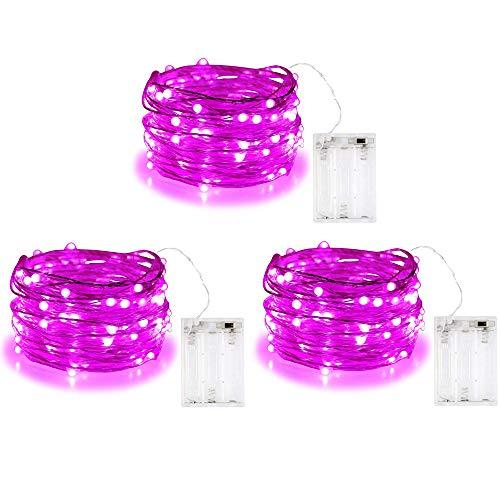 BOLWEO, filo di 3m, con 30 luci a LED, Pink, 3 pezzi