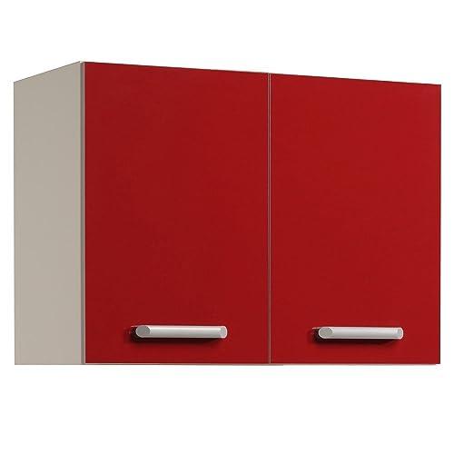 Parisot Glossy Parisot-245803-Elément Haut Ultra-Rouge, Panneau de Particules, 80x35x57 cm