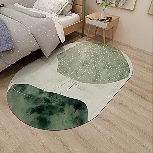 Alfombra aspiradora Alfombra Diseño geométrico Simple Sala de Estar Alfombra Verde Dormitorio Alfombra Ovalada Junto a la Cama alfombras Entrada 140*200cm