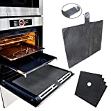 Tefson Living Universal Silicone Oven Door Mesh Splash Guard Cover Complete Shield with 4 Pack Hob Protector Sheets