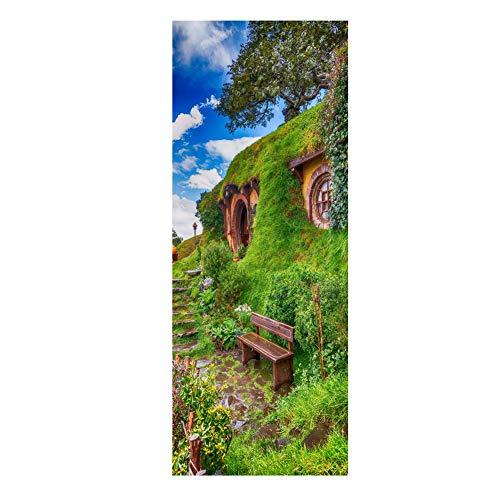 JJHH Paisaje Puerta 3D Etiqueta de la Pared Mural Impermeable Autoadhesivo Película de Vinilo Pegatinas de Nevera Extraíble Decoración del Hogar,Bluesky