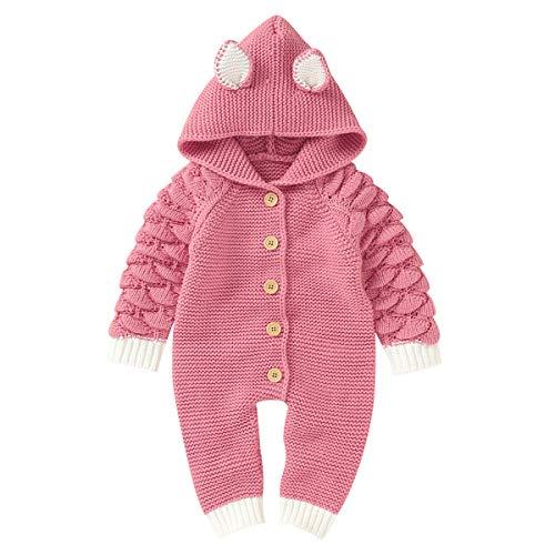 puseky Baby Jungen Mädchen Strickwaren Ohr Hoodie Strampler Overall Onesies Bodysuit Winter Outfits,Rosa-ohr,0-6 Monate (66cm)