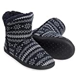 HOMEHOT Big Girls Slippers Fuzzy House Bootis Slippers Warm Indoor Anti-Slip Ankle Boots Shoes for Big Kid 6 Navy