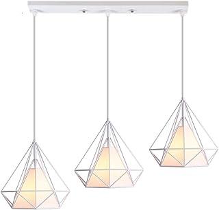 Suspension Luminaire Industrielle 3 Lampe Vintage Rétro Plafonnier en Forme Cage Diamant Lustre Abat-Jour E27 25 cm pour C...