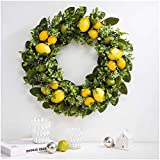 Glitzhome 22' D Artificial Greenery Lemon Wreath Decorative Spring/Summer Wreath for Front Door or Wall Decor